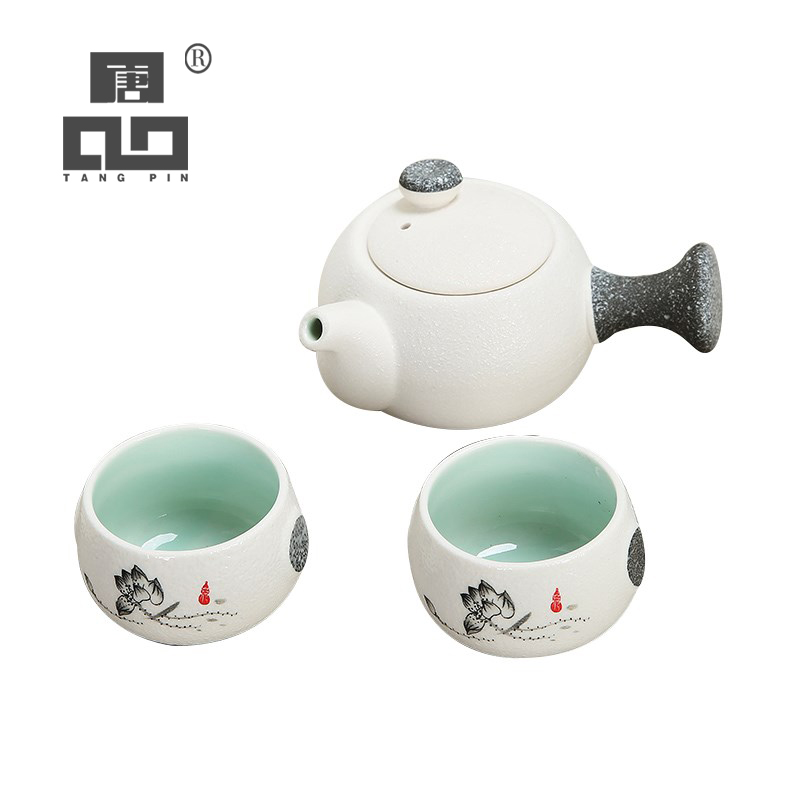 TANGPIN White Ceramic Teapot With 2 Cups Porcelain Tea Set Chinese Gongfu Tea Set Drinkware