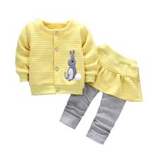 Children Clothing 2017 Cute Winter Girls Clothes Coat+Pants 2pcs Kids Tracksuits Sport Suit For Girls Clothing princess Sets
