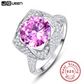 6.5 Carats Genuine Mystic Pink Topaz Rings Solid 925 Sterling Silver Ring Band Jewelry Love Engagement Rings JQUEEN Y0018R8