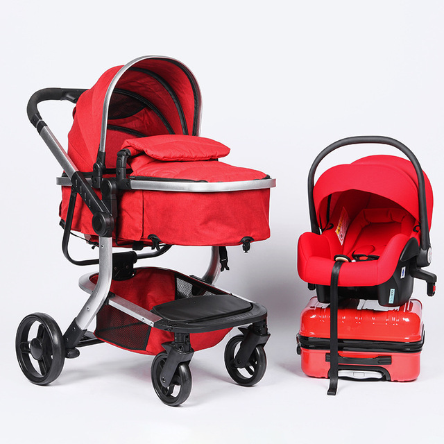 High Landscape Newborn Baby Stroller 3 In 1 With Car Seat Travel System Convertible Pushchair Sleeping