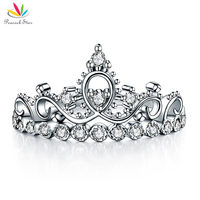 Peacock Star Solid 925 Sterling Silver Ring Crown Shape CZ For Lady Trendy Stylish CFR8275