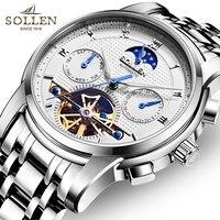 Крутые модные мужские часы с турбийоном из нержавеющей стали с автоматическим самозащитой наручные часы Moon Phase Relogios Week Calendar