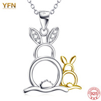 YFN Genuine 925 Sterling Silver Mother And Baby Rabbit Animal Pendant Necklace Female Necklace Jewelry Gifts
