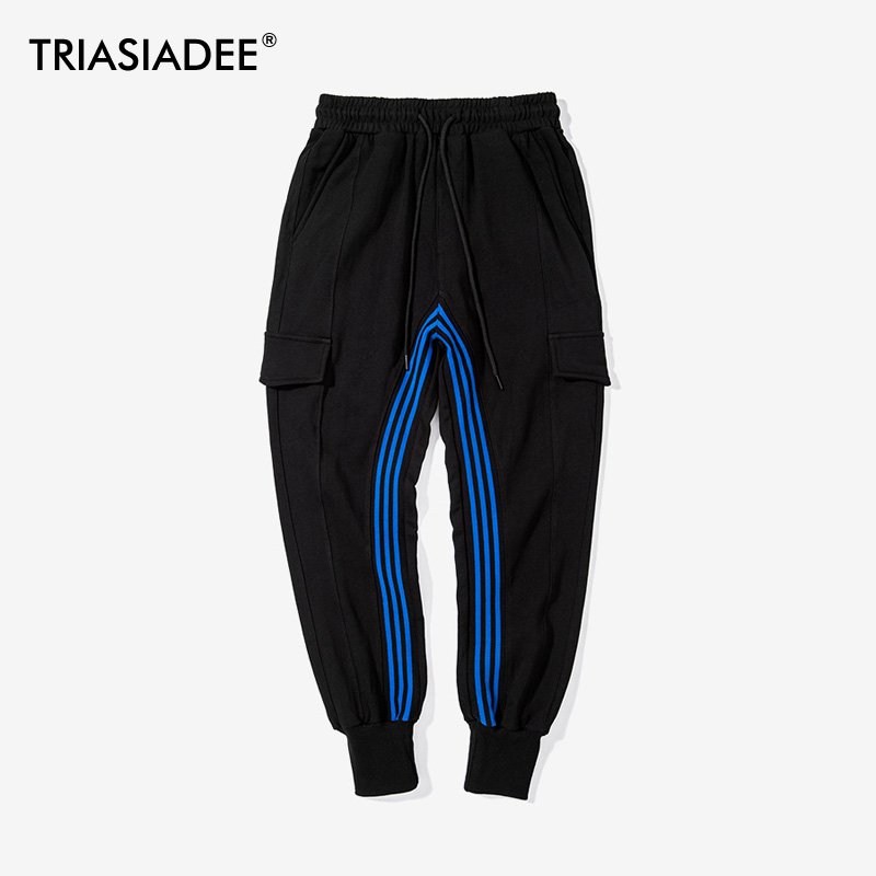 TRIASIADEE Casual Cargo Pants Mens Jogger Pants Hip Hop Sweatpants