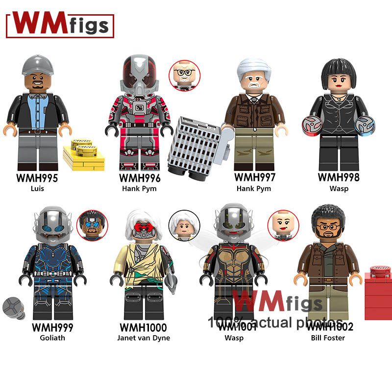 8pcs/lot Captain Marvel Antman The Wasp Legoings Ghost Hank Pym Luis Iron Man Avengers Hero Building Blocks Children Gifts Toys Blocks Model Building