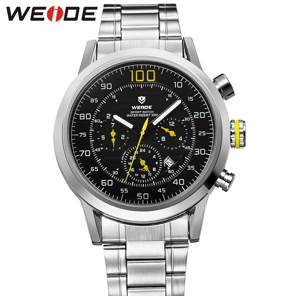 Fashion WEIDE Sport Watch Men Quartz Analog Watch Full Steel Band Yellow Case Man 30m Waterproof Military Wristwatches Relogios weide original brand sports military watch men fashion quartz wrist watch pu band 30m waterproof multifunctional sale items