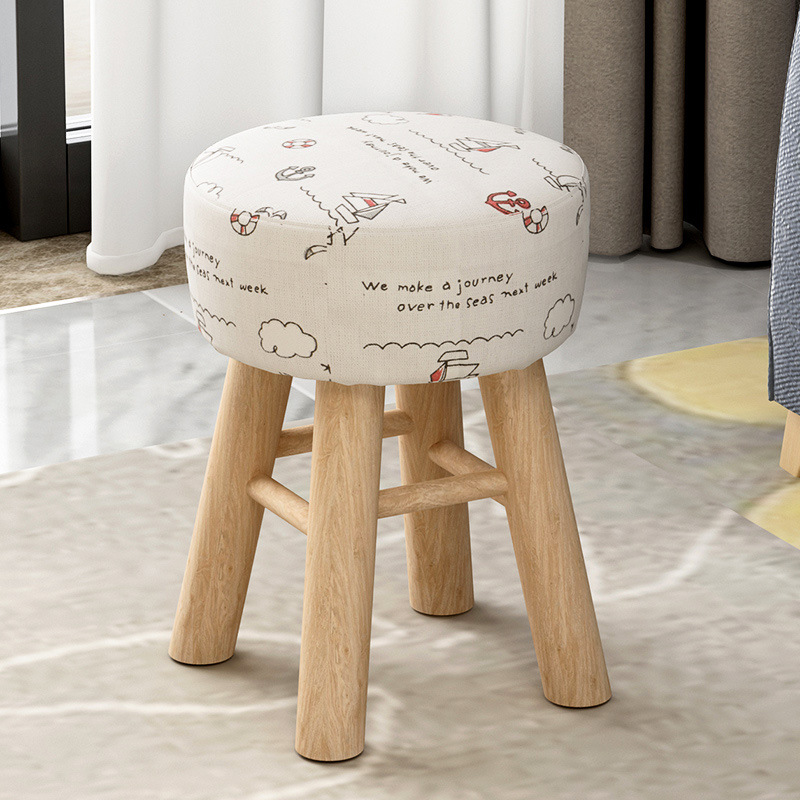 Household Simple Stool Change Shoe Bench Multi-function Wooden Dining Stool Bedroom Dressing Stool Washable Thicken Cloth Seat