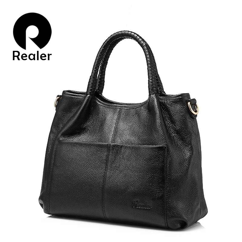 REALER genuine leather bags for women 2018 luxury handbags women bags  designer leather handbag ladies shoulder df984a746f7d0