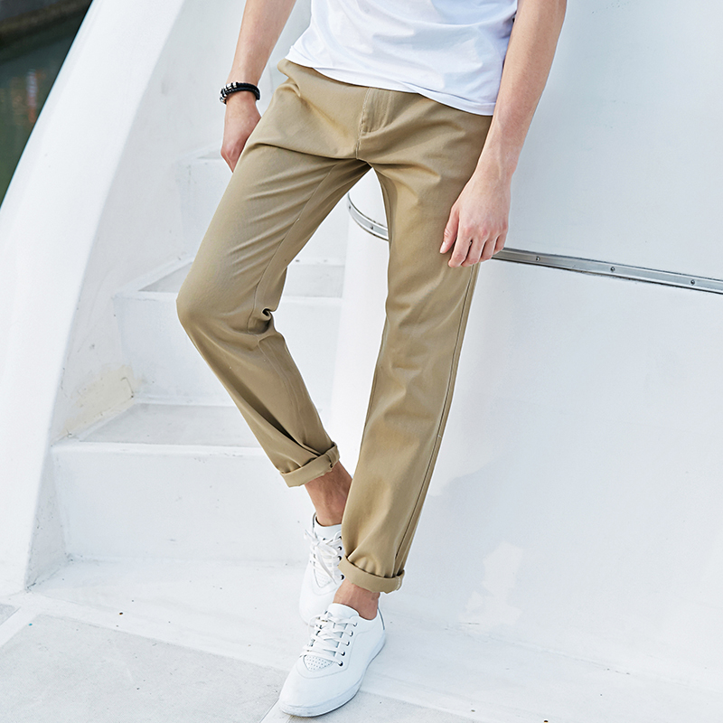 Pioneer Camp Khaki Long Pants Men Autumn Spring Summer Work Pants Stretch Straight Leg Navy Blue Male Trousers 655110