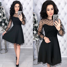 Vintage Lace Patchwork Dress 2019 Women A-Line Party Dress Long Sleeve O-Neck Solid Mini Dress Spring  Fashion Chic Women Dress
