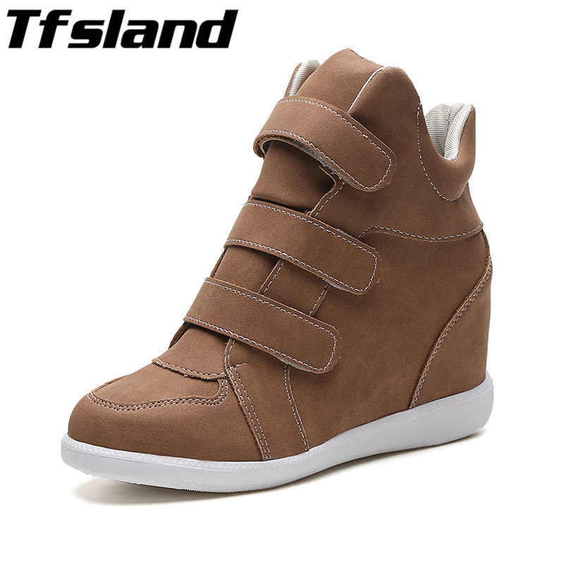2019 Women Height Increasing Shoes Breathable Wedges Ankle Boots Trainers Sneakers Thick Sole Skateboarding Shoes Zapatos Mujer