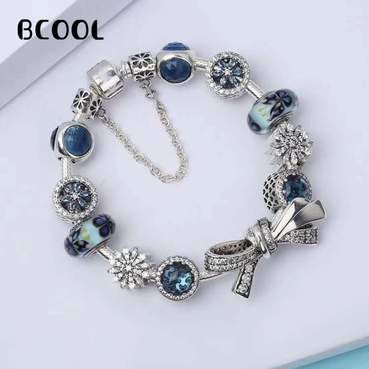 BCOOL DIY Jewelry Female Charm Fashion Silver 925 Original Bracelet, Suitable for Female Crystal Jewelry Bracelet Jewelry Gift.BCOOL DIY Jewelry Female Charm Fashion Silver 925 Original Bracelet, Suitable for Female Crystal Jewelry Bracelet Jewelry Gift.