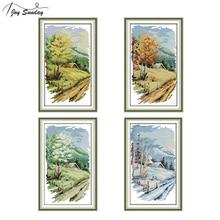 Joy Sunday Four Seasons Landscape Painting Stamped Cross Stitch Kit Aida Fabric Printed Canvas Embroidery DMC DIY Needlework