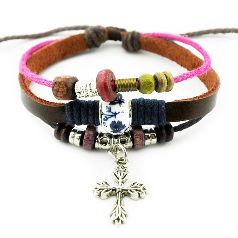 A527 Cross Charm Fashion Handmade Hemp Leather Bracelet Wristband Womens  Man's Adjustable Wrap Bracelet Wholesale Free