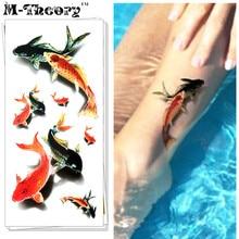 M-theory 3D Makeup Temporary Tattoos Body Arts Koi Carp Flash Tatoos Stickers 19x9cm Swimsuit Bikini Makeup Car Styling Tools