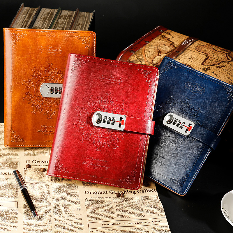 New Leather notebook with lock password Spiral Vintage diary notepad Bissness 80 sheets office school supplies gift все цены