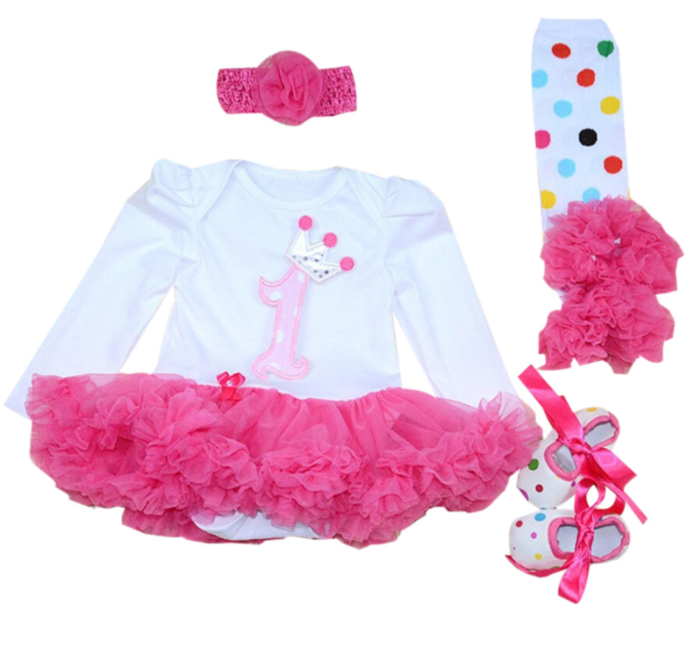 Baby Girl 12M Hot Pink First Birthday Outfit Tutu Dress Headband leggings Set