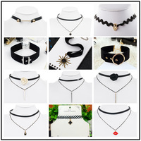 T collarbone chain neck chain European and American Gothic simple jewelry choker collar neck chain combination suit a set