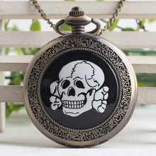 Vintage Bronze Steampunk Cramics Carribean Pirate Skull Head Horror Quartz Pocket Watch with Chain For Boys Men Gifts TPB214