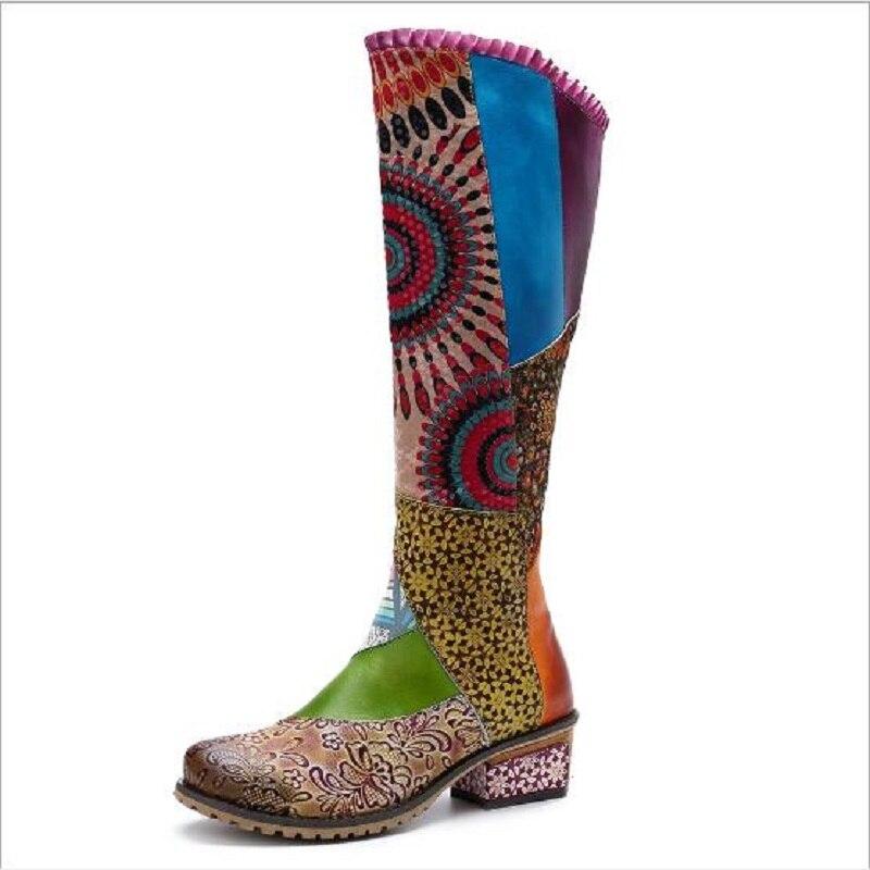 Nuevas botas de mujer de cuero genuino estilo nacional Retro Casual colores mezclados hasta la rodilla alta altura flor más tamaño botas 20181104-in Botas por la rodilla from zapatos    3