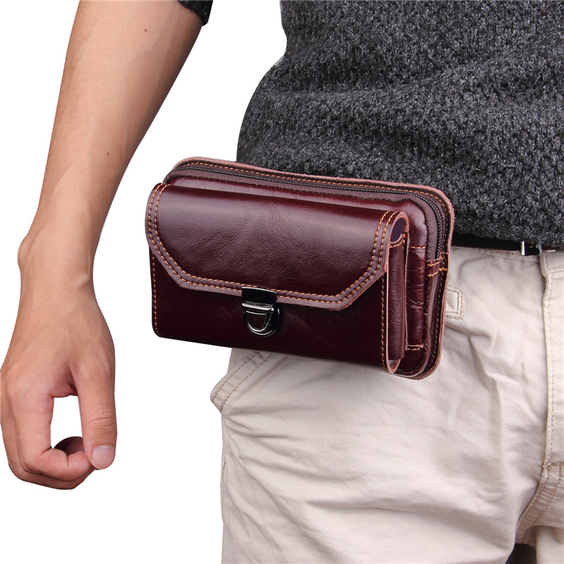 CHEZVOUS Phone Pouch Men Belt Bag Waist Packs for Samsung Huawei Xiaomi Mobile Phone Bag Soft Leather 5.1~6.0 inch Universal