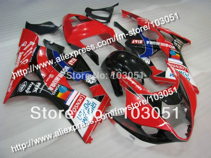 7 Gifts body kits for 2003 suzuki gsxr 1000 fairing K3 2004 GSXR 1000 fairings 03 04 glossy red with black DQ custom road fairing kits for suzuki glossy flat black 2006 gsxr 1000 k5 2005 gsx r1000 06 05 motorcycle fairings kit