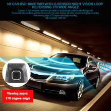 Buy Newest Car DVR Full HD 1080P 170 Wide Angle Real Time Surveillance WIFI Car Camera with G-Sensor Night Vision Loop Recording Hot