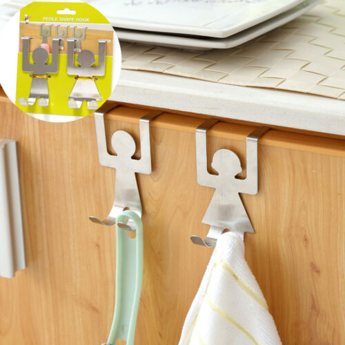 2pcs Stainless Steel Hooks Cute Cartoon Humanoid Door Back Sliver Hook Storage Hooks New Storage Rack For Kitchen