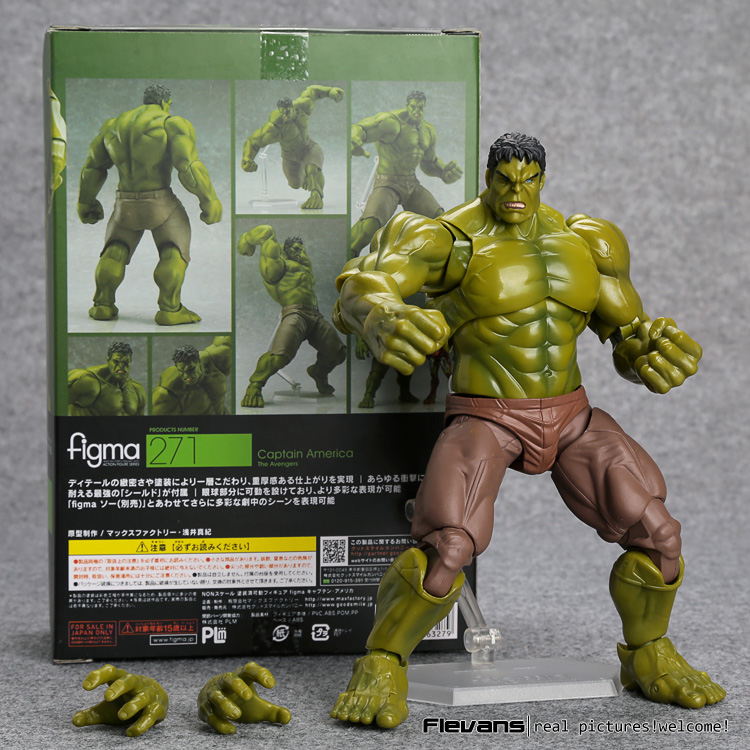 Avengers Hulk Figma 271 PVC Action Figure Collectible Model Toy 19cm avengers movie hulk pvc action figures collectible toy 1230cm retail box