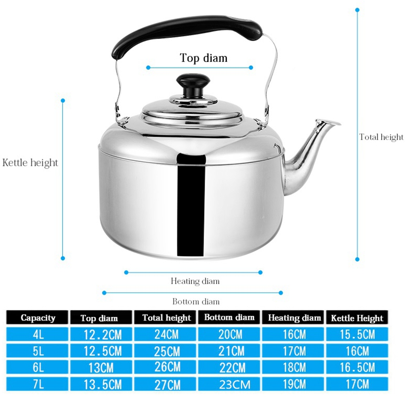 4L 5L 6L Large Capacity Whistling Water Kettle For Gas Induction Thickened Stainless Steel Water Heater Boiler Tea Pot in Water Kettles from Home Garden