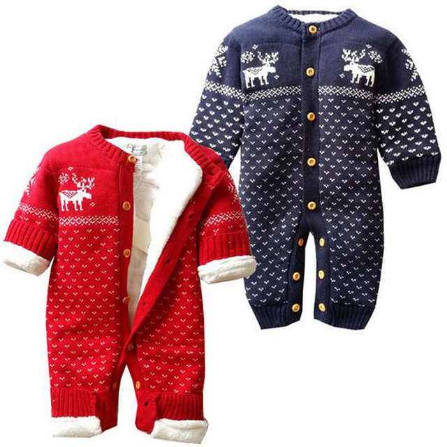 c21f29fdcaa67 US $25.24 45% OFF|Baby Rompers Winter Thick Climbing Clothes Newborn Boys  Girls Warm Print Knitted Christmas Deer Hooded Outwear XL60-in Rompers from  ...