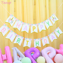 Taoup Party Unicorn Banner Birthday Supplies Decors Paper Flags and Banners Happy Baby Shower Girls Boys