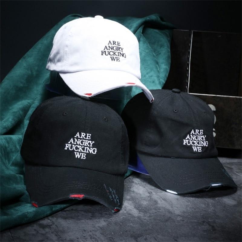 Prix pour Hommes Vintage Trou Lettre Broderie Casquettes de Baseball Pour Les Femmes Casual Coton Solide Couleur Chapeaux Cap