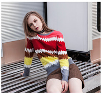 Ky&Q Fall Winter Sweater Warn Women Colorful Striped Pullover High Quality Oversized Christmas Sweater For Women Jumper Tops