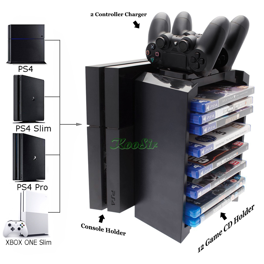 PS4/SLIM/PRO Console Storage Stand Game Discs Tower Bracket PS 4 Controller Charging Dock Station for Play station 4 Xbox one S