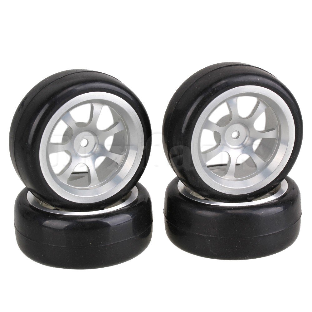 Mxfans 4 xRubber Black Slick Tires + 7-Spoke Silver Wheel Rims For RC 1:10 On-Road Car