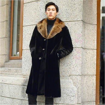 S-6XL New Fashion Male Wither Clothes High Imitation Mink fur Overcoat Faux Fur Trench Coat Long Men Mink Fur Coat