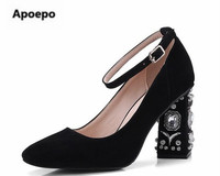 Apoepo Brand Black Green Shoes Women Crystal High Heels Pumps Women Mary Janes Shoes Ankle Strap