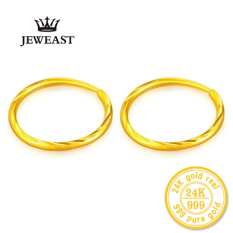 ZZZ 24k Pure Gold Hoop Earrings Classic Wild Generous Fine Round Women Female Lady Miss 2020 New Hot Sale Trendy 999 Real Gold