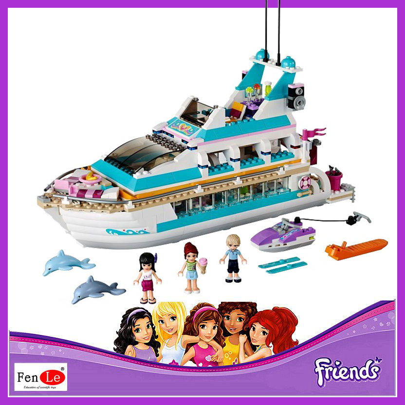 Friends set Girl Series 661pcs Building Blocks toys Dolphin Cruiser kids Bricks toy girl gifts Compatible 41015-in Blocks from Toys & Hobbies
