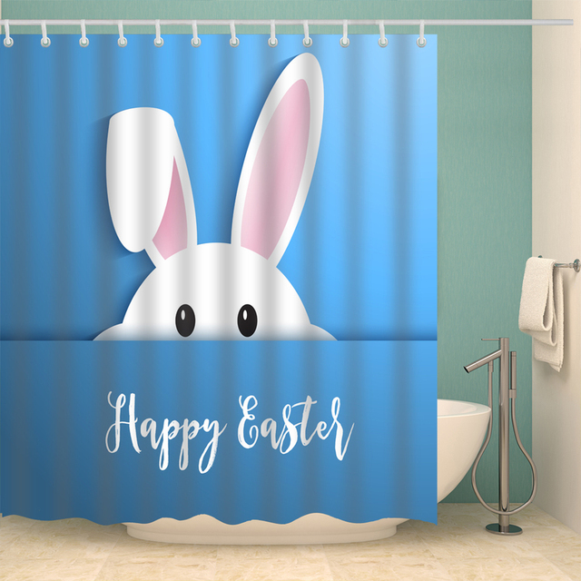 Easter Eggs Rabbit Shower Curtains Waterproof Bathroom Polyester 180x180cm Decoration Toilet With Hooks