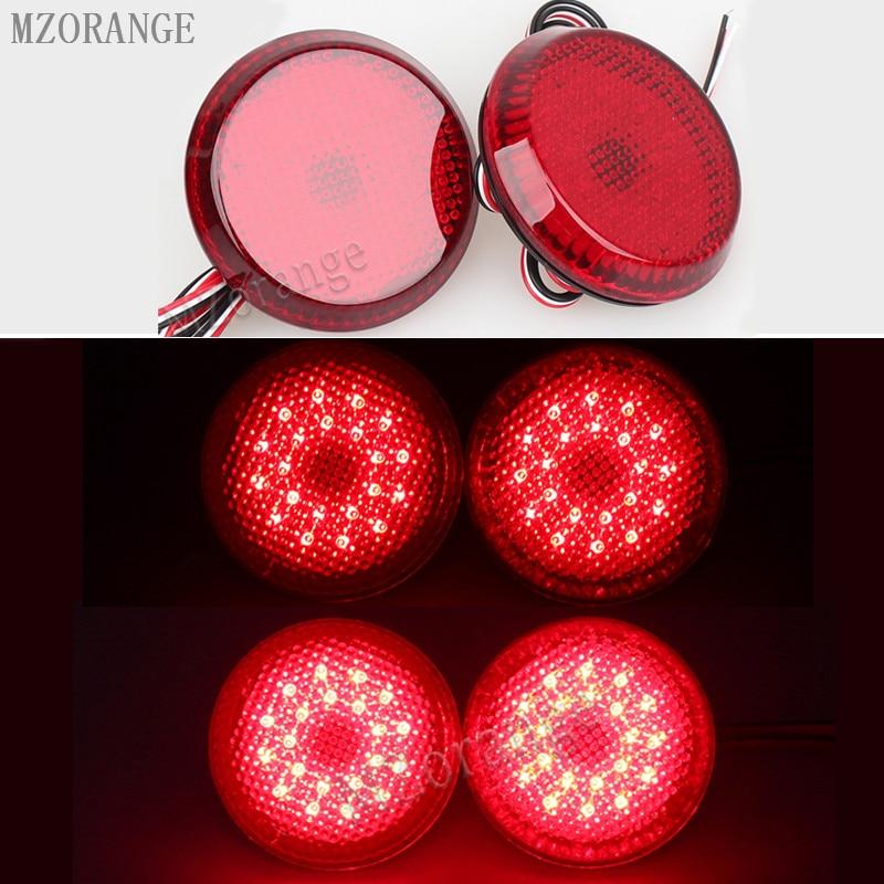 2 Pcs Car LED Tail Rear Bumper Reflector Lamp Round Brake Stop Light Warning Light For