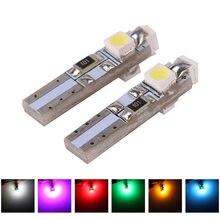 Ampoule automatique W2 X 4.6d T5 1210 3 SMD, blanc/bleu cristal 12V 3528, pour tableau de bord, signal d'avertissement, lampe, 1 pièce