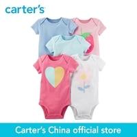 Carter S 5 Pack Baby Children Kids Clothing Girl Summer Short Sleeve Cotton Original Bodysuits 126H326