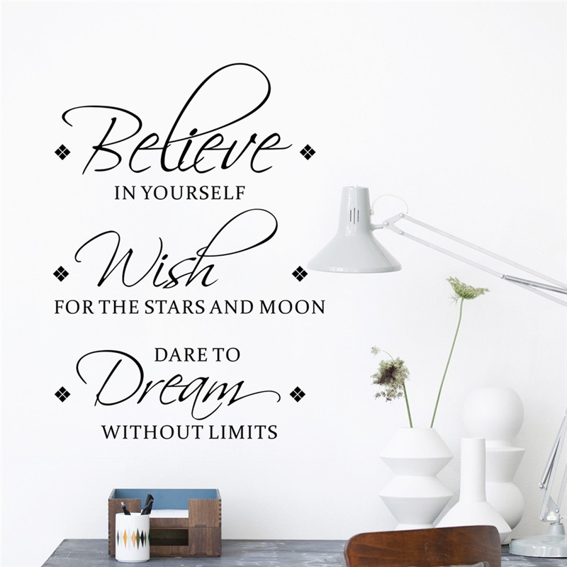 modern warm lovely quote wall stickersbelieve,wish,dream Inspirational wallart8565 living bedroom office shop home decoration