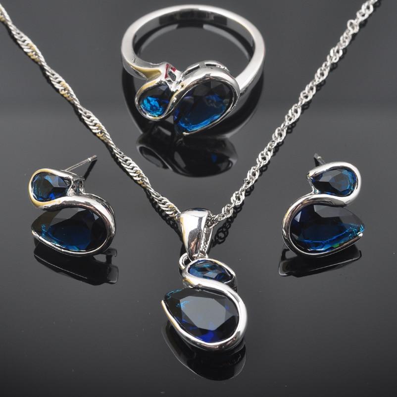 Fahoyo Neue Mode Blau Zirkonia Frauen 925 Sterling Silber Schmuck Sets Ohrringe/anhänger/halskette/ringe Qz0554 Mit Einem LangjäHrigen Ruf Schmuck & Zubehör