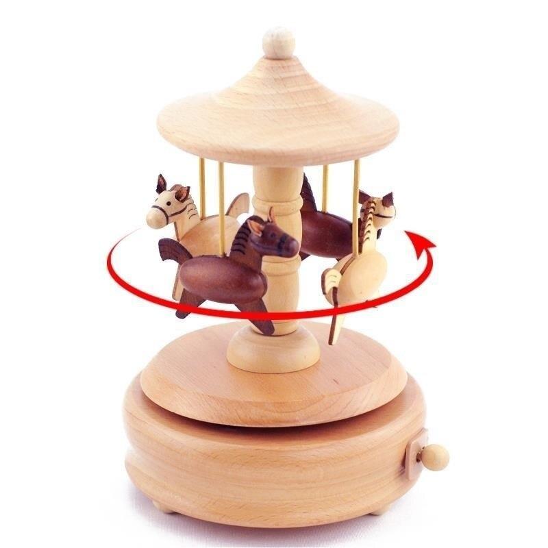 Accessoires De décoration pour la maison Carrossel Muziek Karuzela Pozytywka Caixa Presente carrousel en bois Musica caja boîte à musique musicale