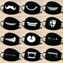 Унисекс лицевая маска камуфляж рот муфельные респиратор мультфильм хлопковая маска Открытый здоровье и гигиена маски черный Прямая