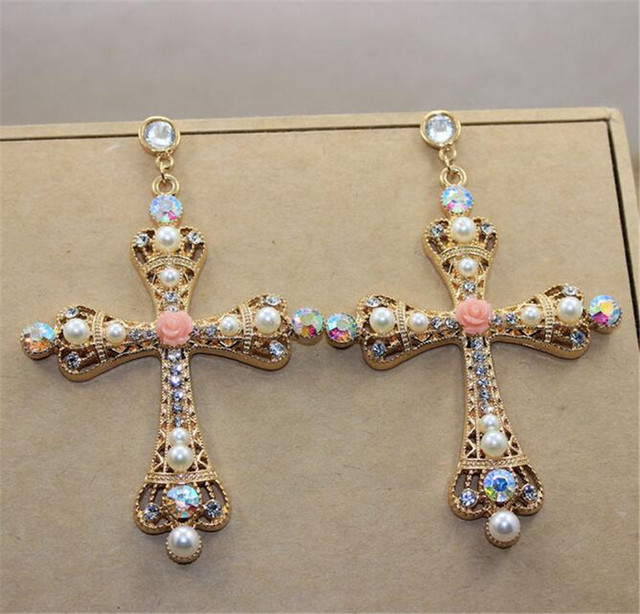 Free Shipping 2017 Baroque Jewelry Bridal Large Gold Cross Drop Earrings For Women Brand Pearl Crystal