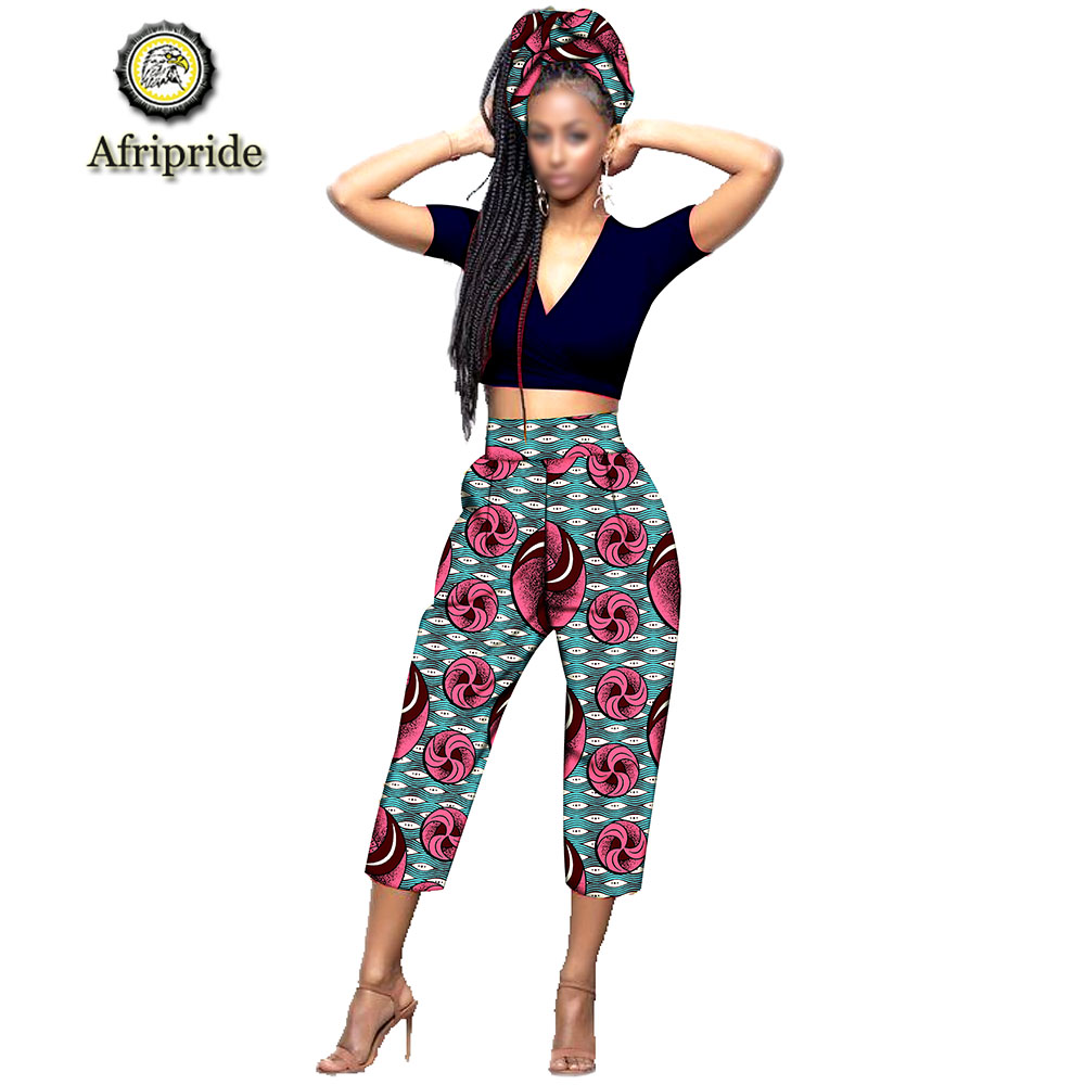 2019 Afripride African Calf-Length Pants With Scarf Africa Clothes For Woman Bazin Riche Appliques Design Straight  S1921003